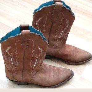 Nocona Boots Size 8 Cowboy Western Leather Suede